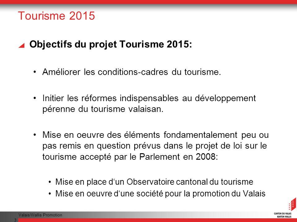 Tourisme 2015 Objectifs du projet Tourisme 2015: