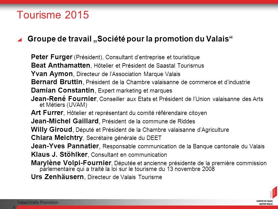 """Tourisme 2015 Groupe de travail """"Société pour la promotion du Valais"""