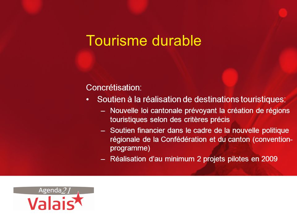 Tourisme durable Concrétisation: