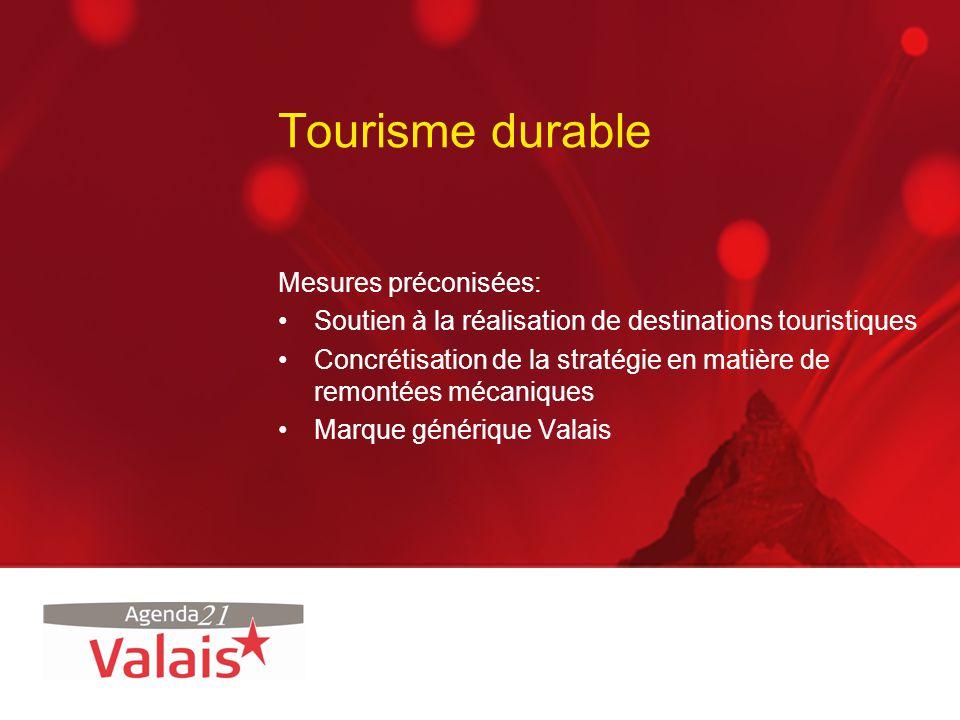 Tourisme durable Mesures préconisées: