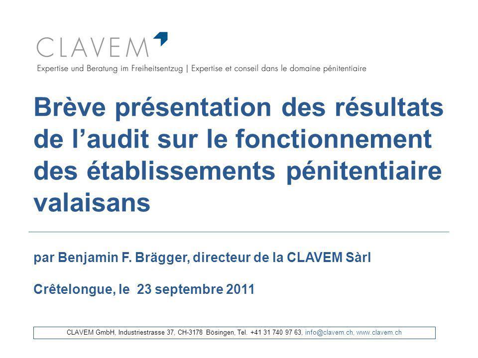 Brève présentation des résultats de l'audit sur le fonctionnement des établissements pénitentiaire valaisans