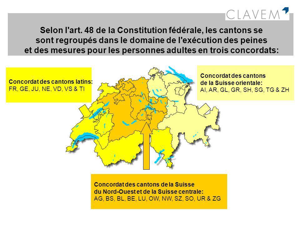 Selon l art. 48 de la Constitution fédérale, les cantons se sont regroupés dans le domaine de l exécution des peines et des mesures pour les personnes adultes en trois concordats: