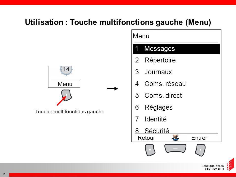 Utilisation : Touche multifonctions gauche (Menu)