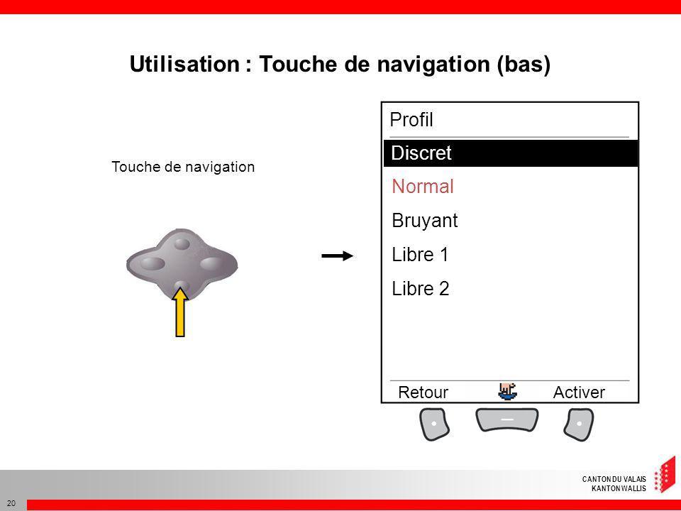 Utilisation : Touche de navigation (bas)