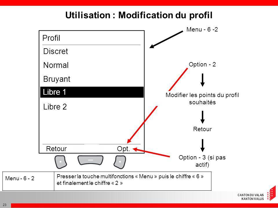 Utilisation : Modification du profil