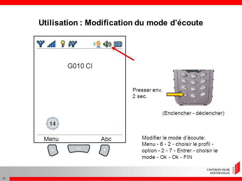 Utilisation : Modification du mode d'écoute