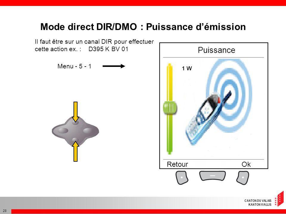 Mode direct DIR/DMO : Puissance d'émission