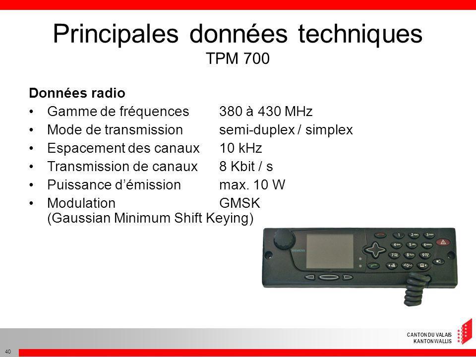 Principales données techniques TPM 700