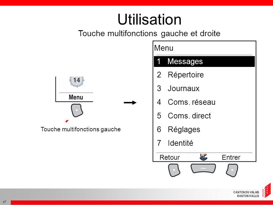 Utilisation Touche multifonctions gauche et droite