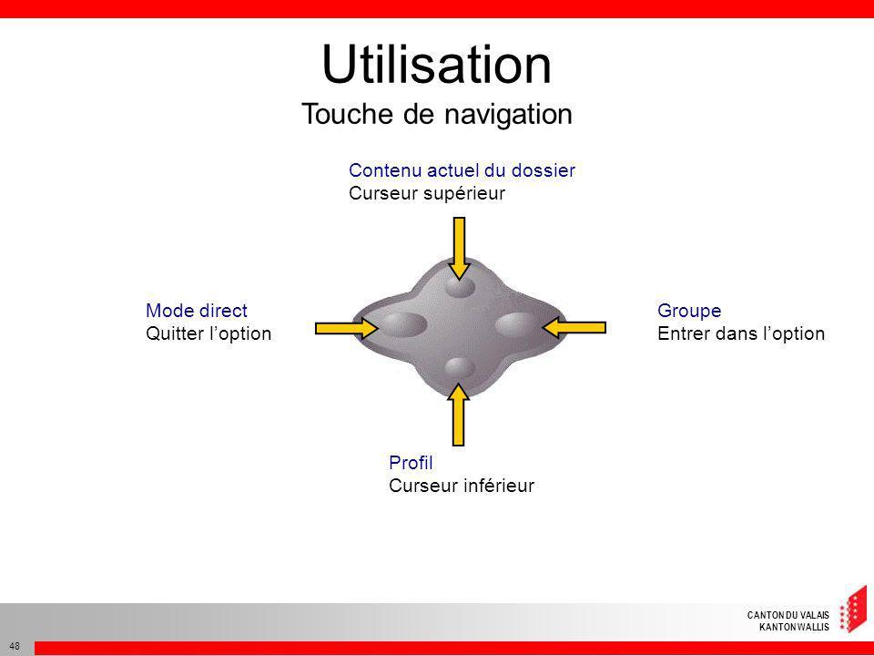 Utilisation Touche de navigation