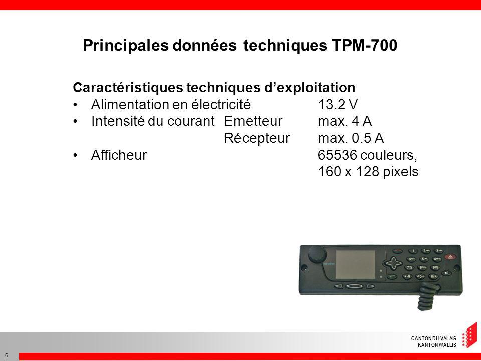 Principales données techniques TPM-700