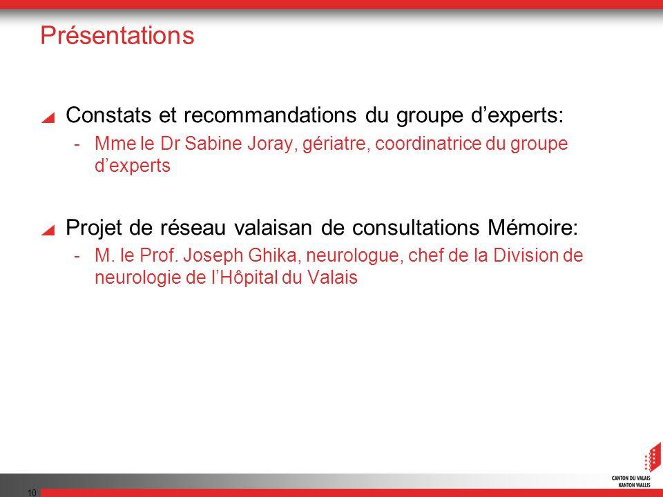 Présentations Constats et recommandations du groupe d'experts: