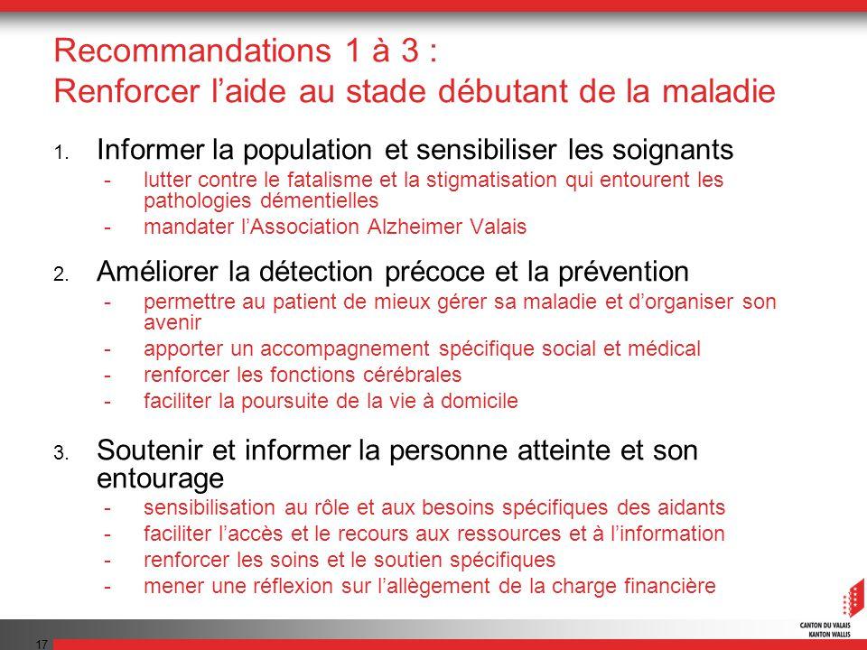 Recommandations 1 à 3 : Renforcer l'aide au stade débutant de la maladie