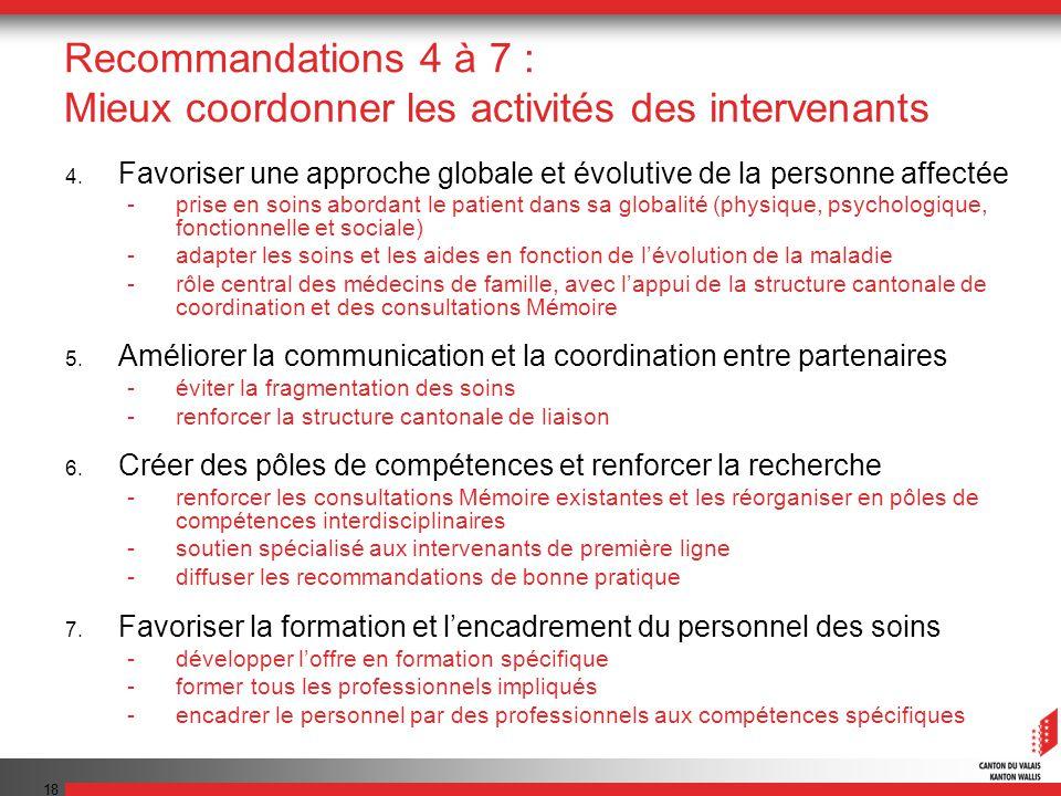 Recommandations 4 à 7 : Mieux coordonner les activités des intervenants