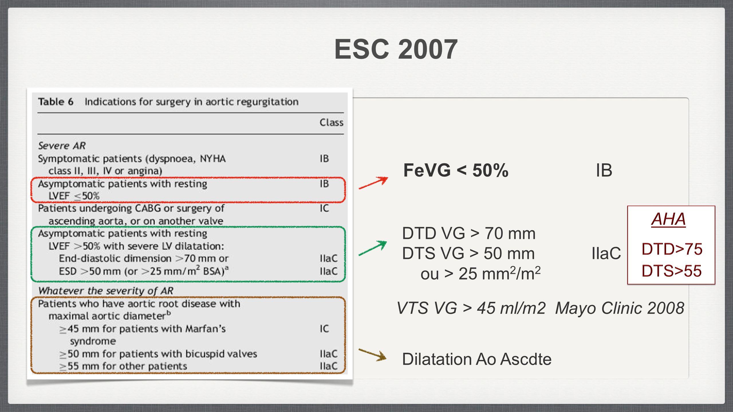 ESC 2007 FeVG < 50% IB AHA DTD VG > 70 mm DTS VG > 50 mm IIaC