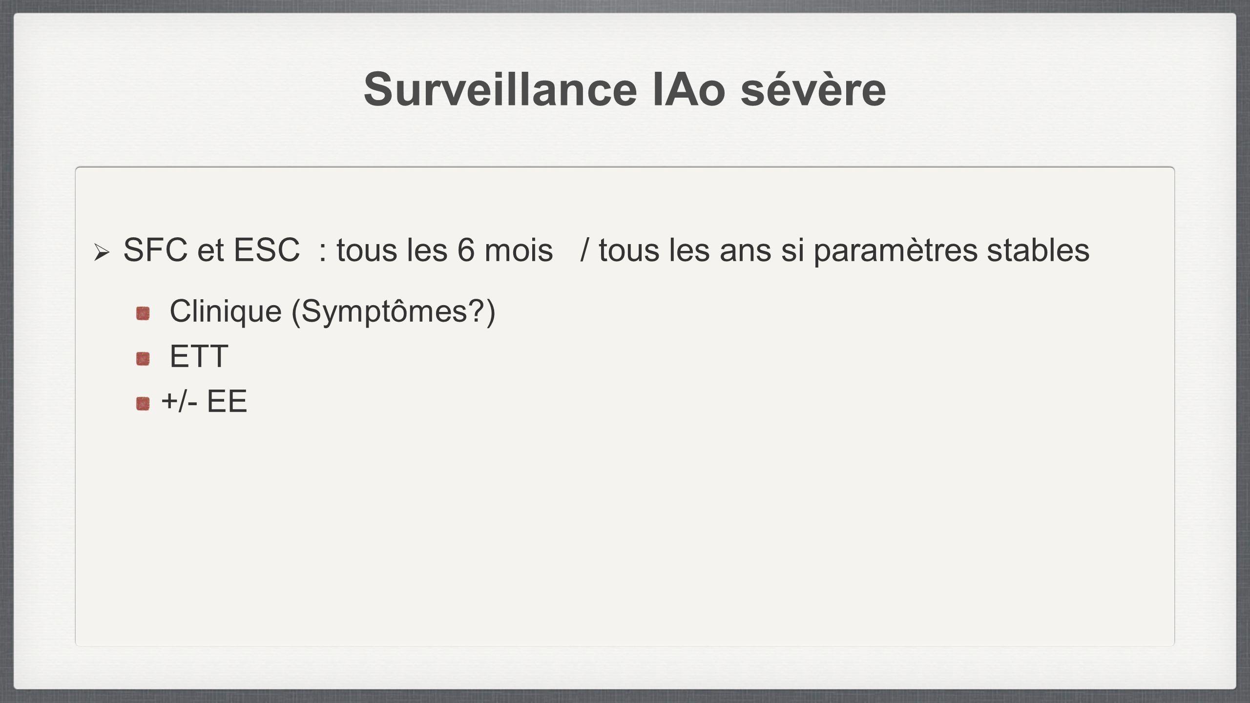 Surveillance IAo sévère