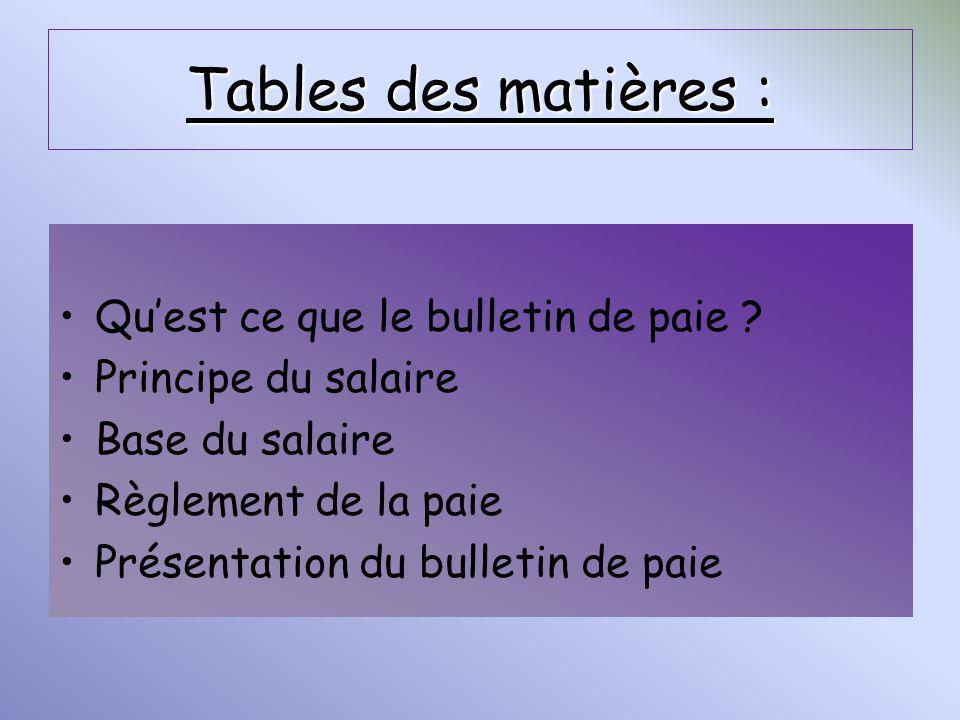 Tables des matières : Qu'est ce que le bulletin de paie