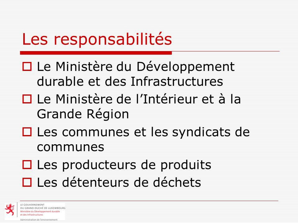 Les responsabilités Le Ministère du Développement durable et des Infrastructures. Le Ministère de l'Intérieur et à la Grande Région.