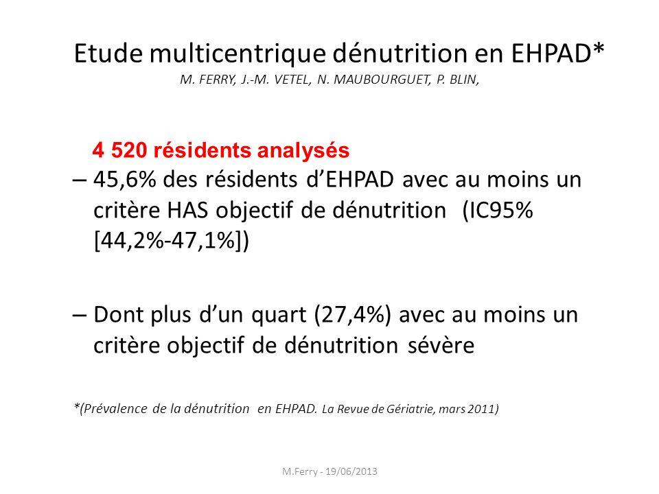 Etude multicentrique dénutrition en EHPAD. M. FERRY, J. -M. VETEL, N