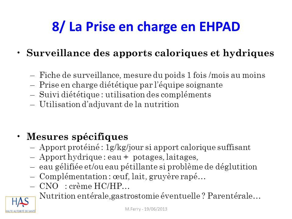 8/ La Prise en charge en EHPAD