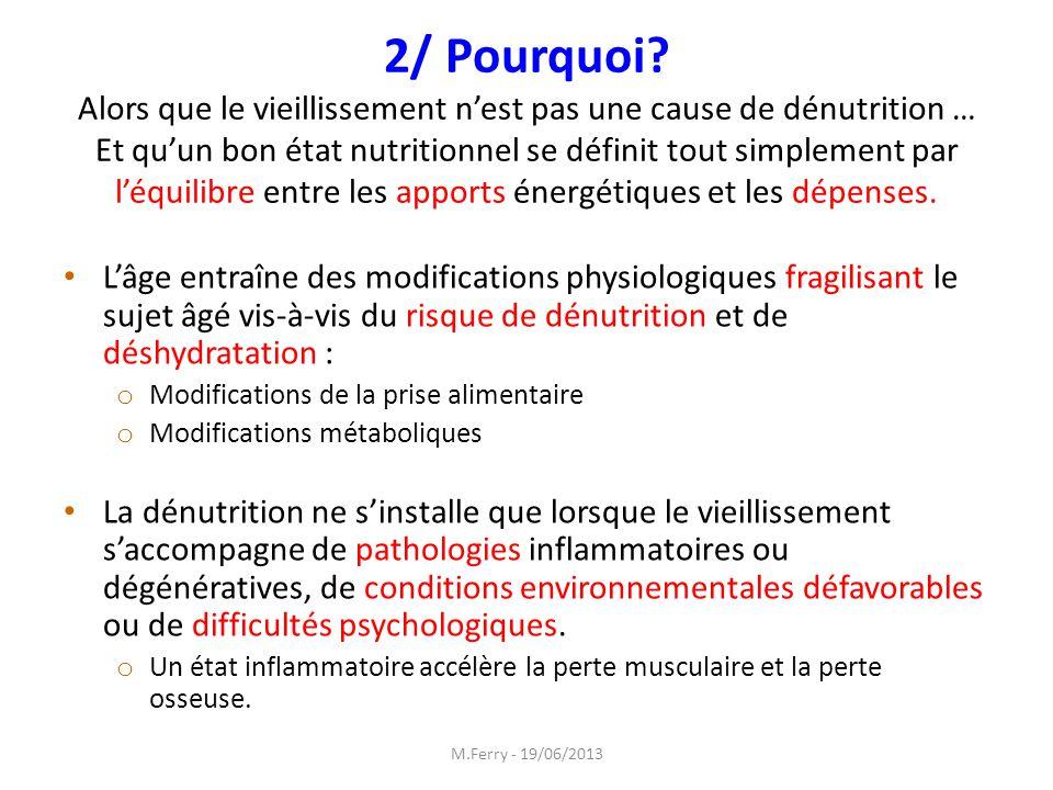 2/ Pourquoi Alors que le vieillissement n'est pas une cause de dénutrition … Et qu'un bon état nutritionnel se définit tout simplement par l'équilibre entre les apports énergétiques et les dépenses.