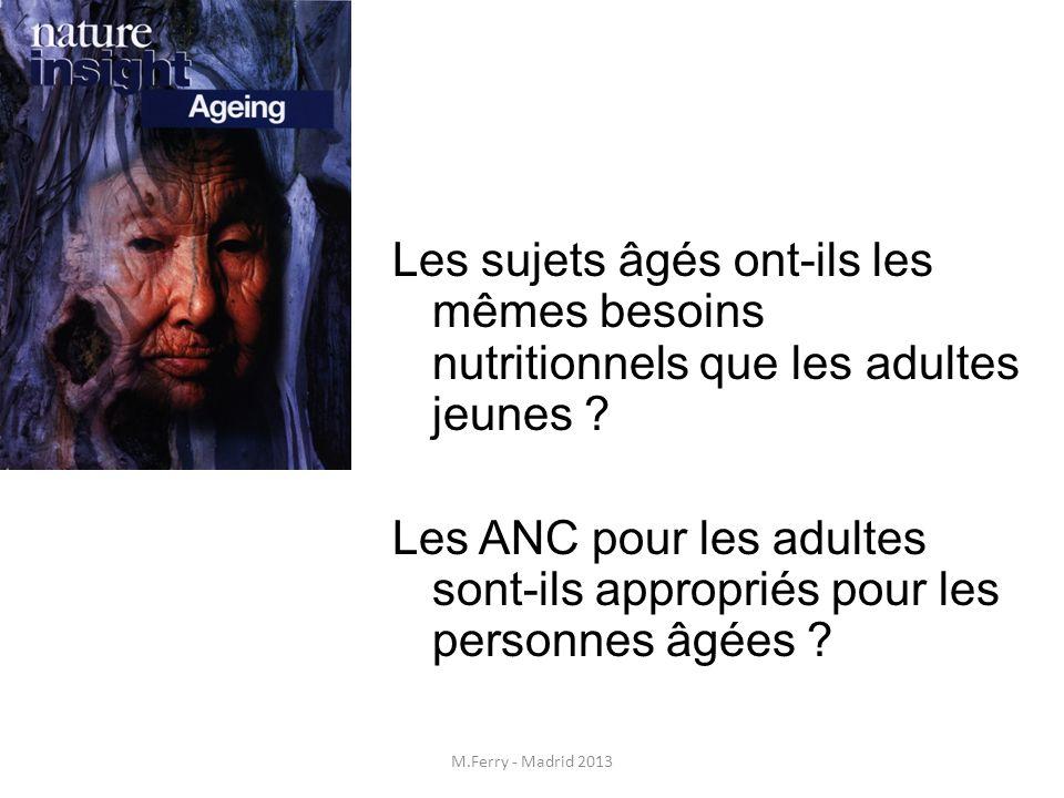 Les sujets âgés ont-ils les mêmes besoins nutritionnels que les adultes jeunes