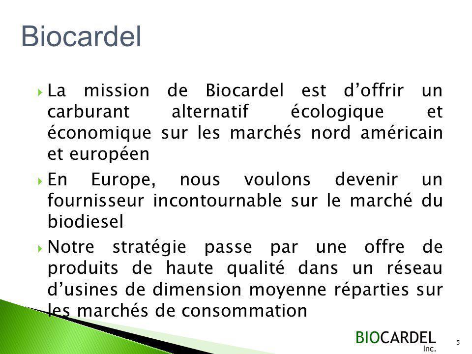 Biocardel La mission de Biocardel est d'offrir un carburant alternatif écologique et économique sur les marchés nord américain et européen.