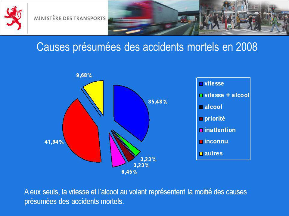 Causes présumées des accidents mortels en 2008