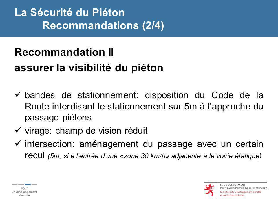 La Sécurité du Piéton Recommandations (2/4)