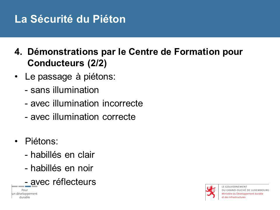 La Sécurité du Piéton 4. Démonstrations par le Centre de Formation pour Conducteurs (2/2) Le passage à piétons: