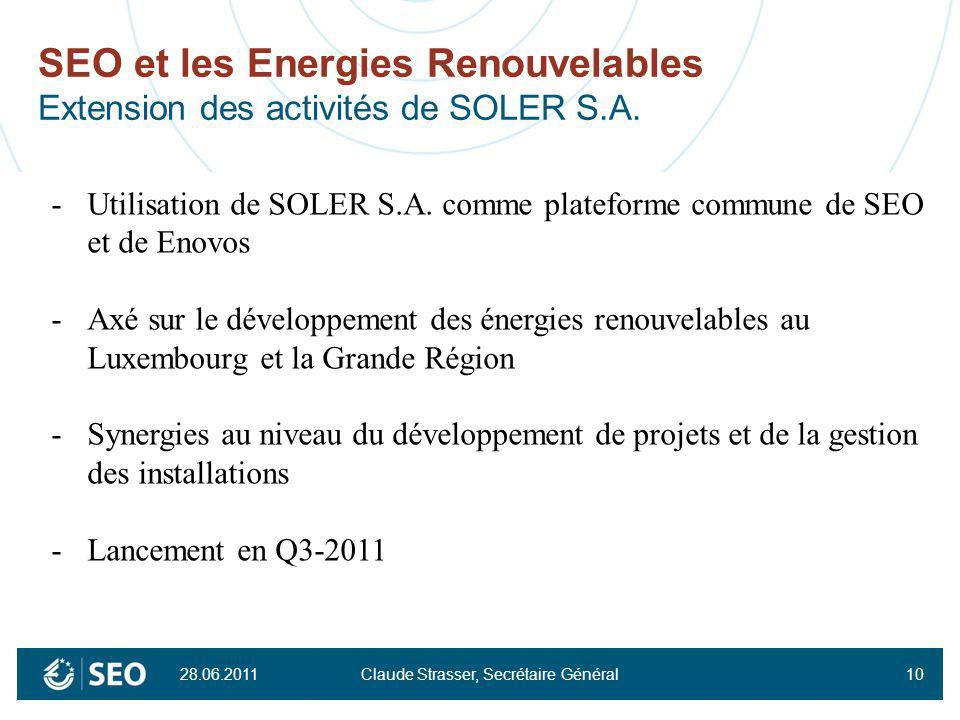 SEO et les Energies Renouvelables Extension des activités de SOLER S.A.