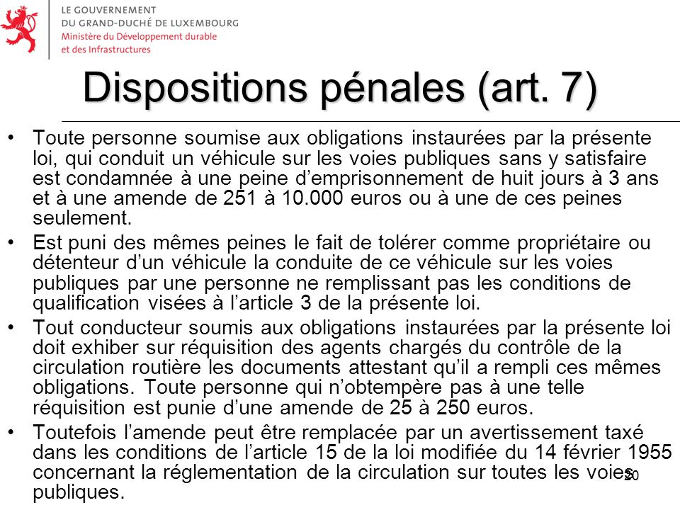 Dispositions pénales (art. 7)