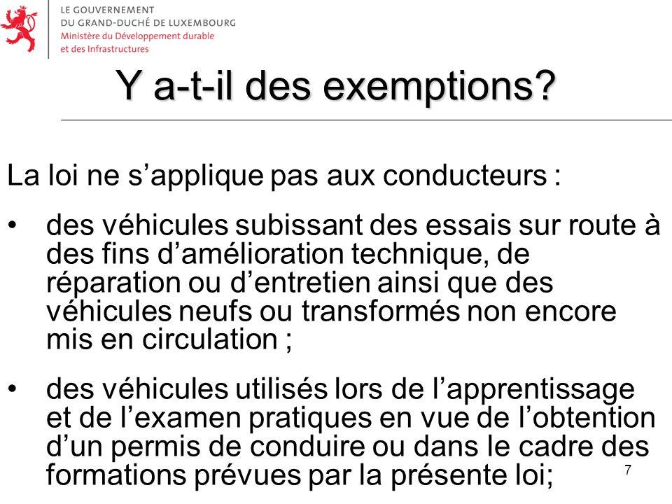Y a-t-il des exemptions