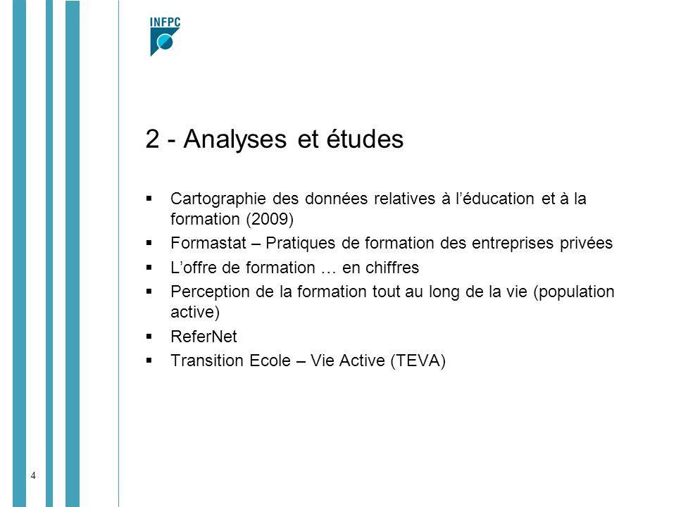 2 - Analyses et études Cartographie des données relatives à l'éducation et à la formation (2009)
