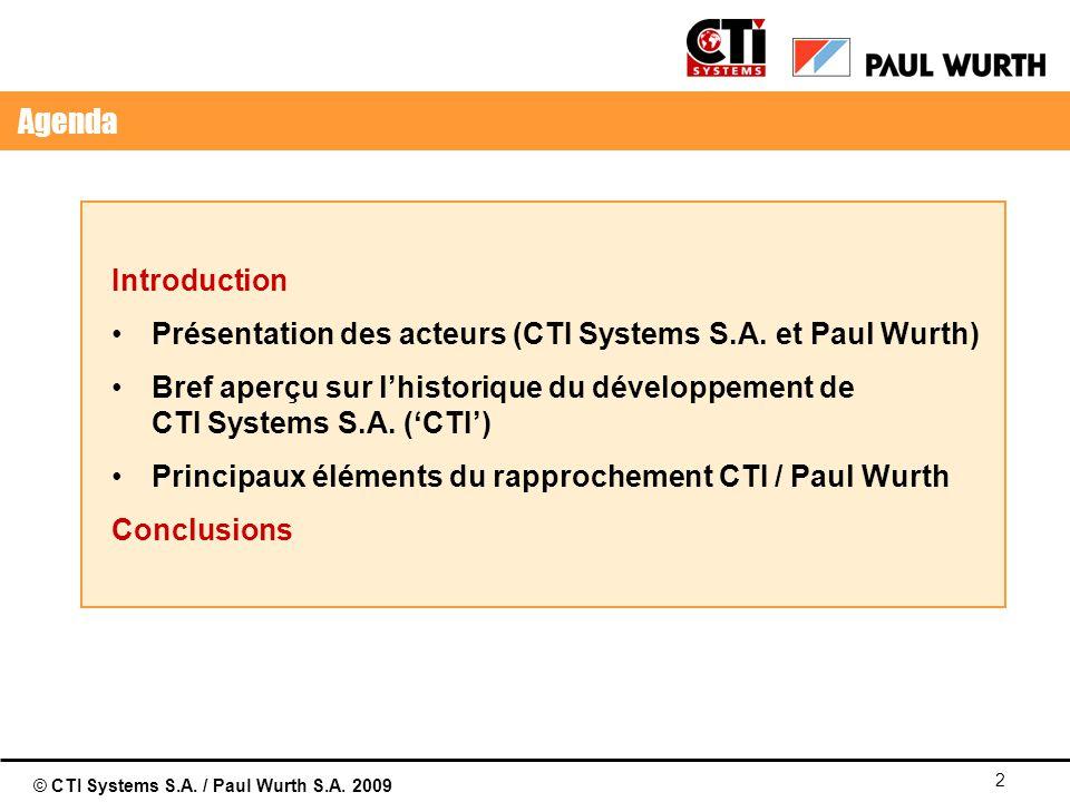 01/04/2017 Agenda. Introduction. Présentation des acteurs (CTI Systems S.A. et Paul Wurth)
