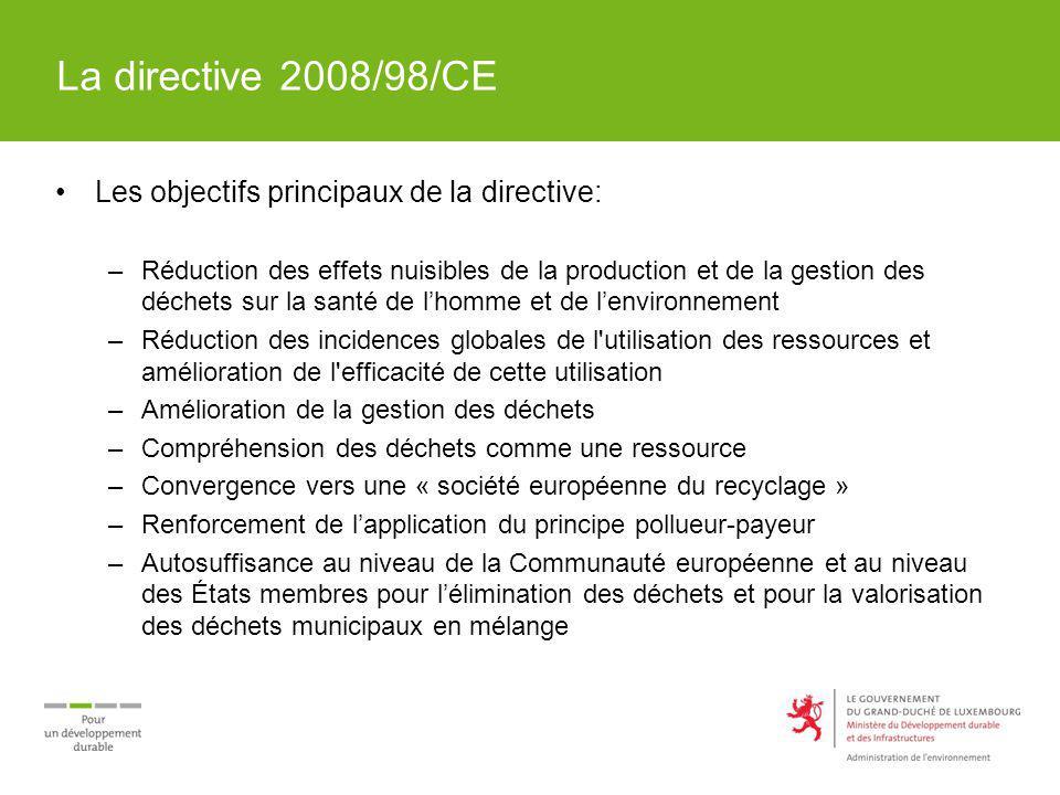 La directive 2008/98/CE Les objectifs principaux de la directive: