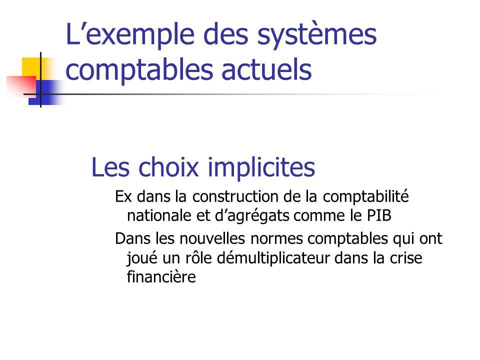 L'exemple des systèmes comptables actuels