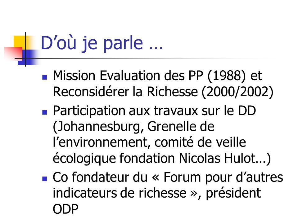 D'où je parle … Mission Evaluation des PP (1988) et Reconsidérer la Richesse (2000/2002)