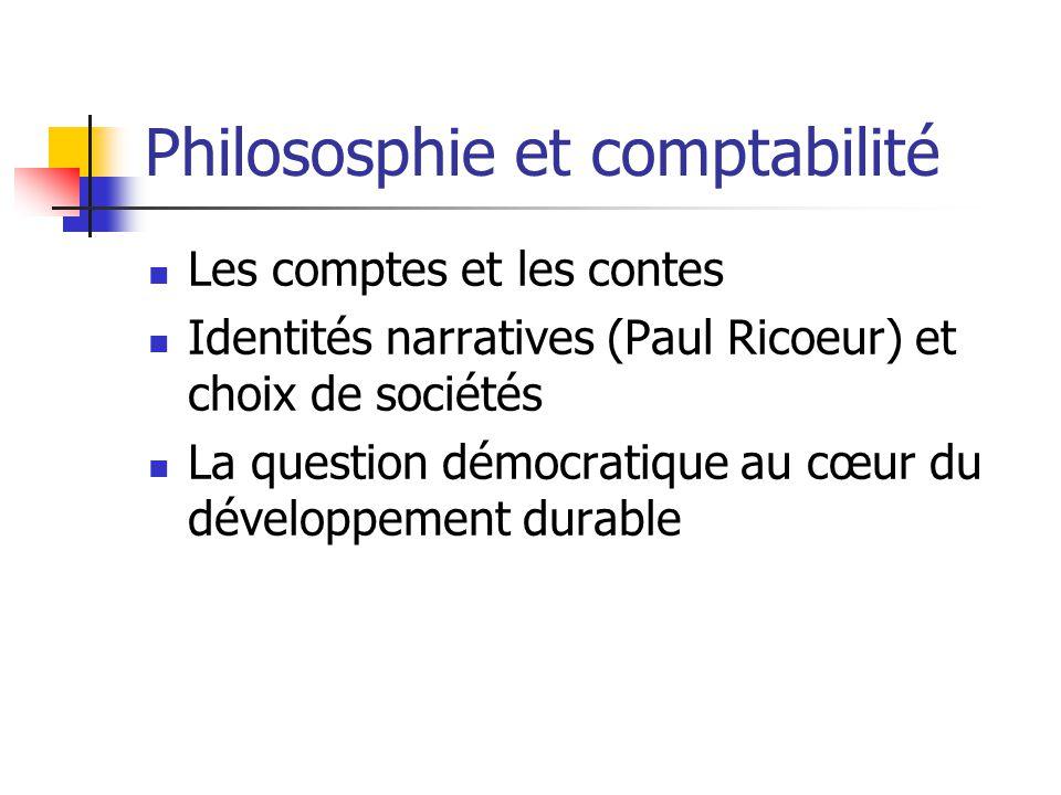 Philososphie et comptabilité