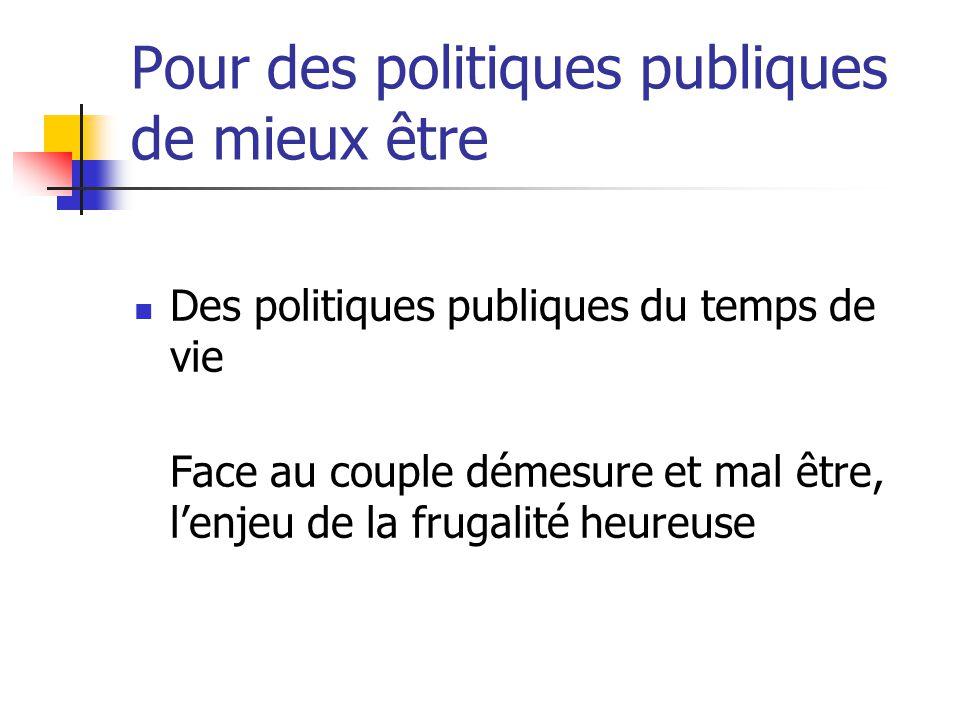 Pour des politiques publiques de mieux être