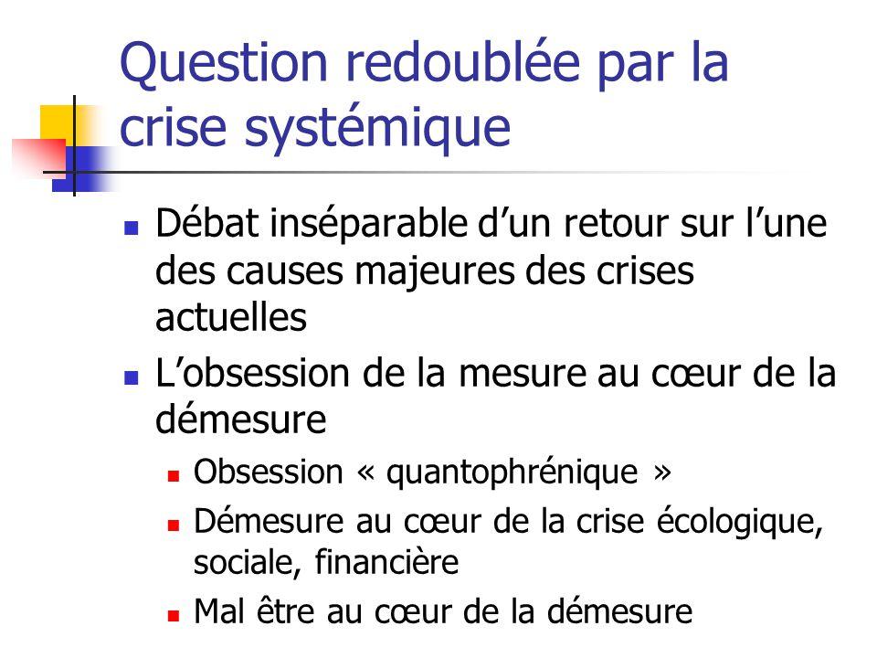 Question redoublée par la crise systémique