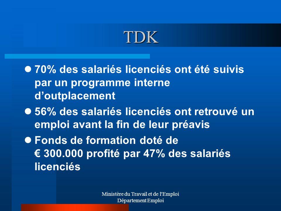 Ministère du Travail et de l Emploi Département Emploi