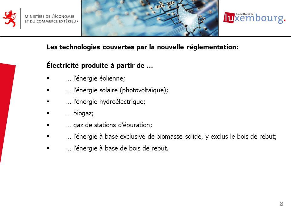 Les technologies couvertes par la nouvelle réglementation: