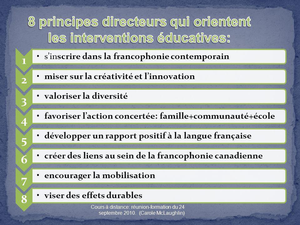 8 principes directeurs qui orientent les interventions éducatives: