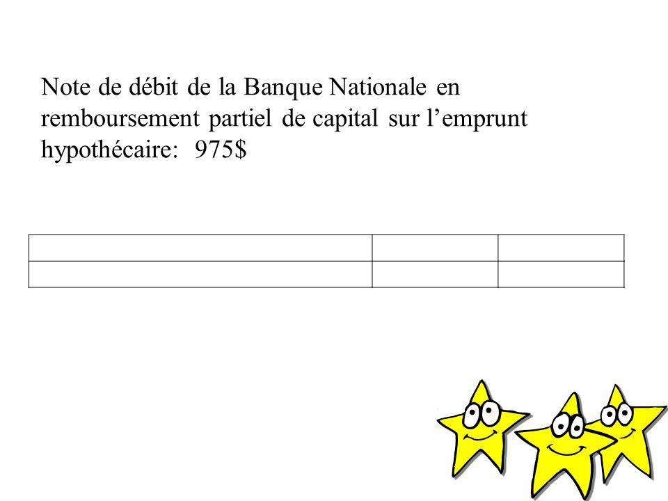 Note de débit de la Banque Nationale en remboursement partiel de capital sur l'emprunt hypothécaire: 975$