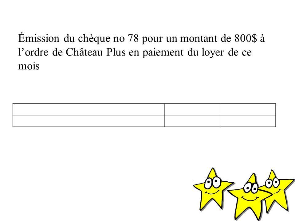 Émission du chèque no 78 pour un montant de 800$ à l'ordre de Château Plus en paiement du loyer de ce mois