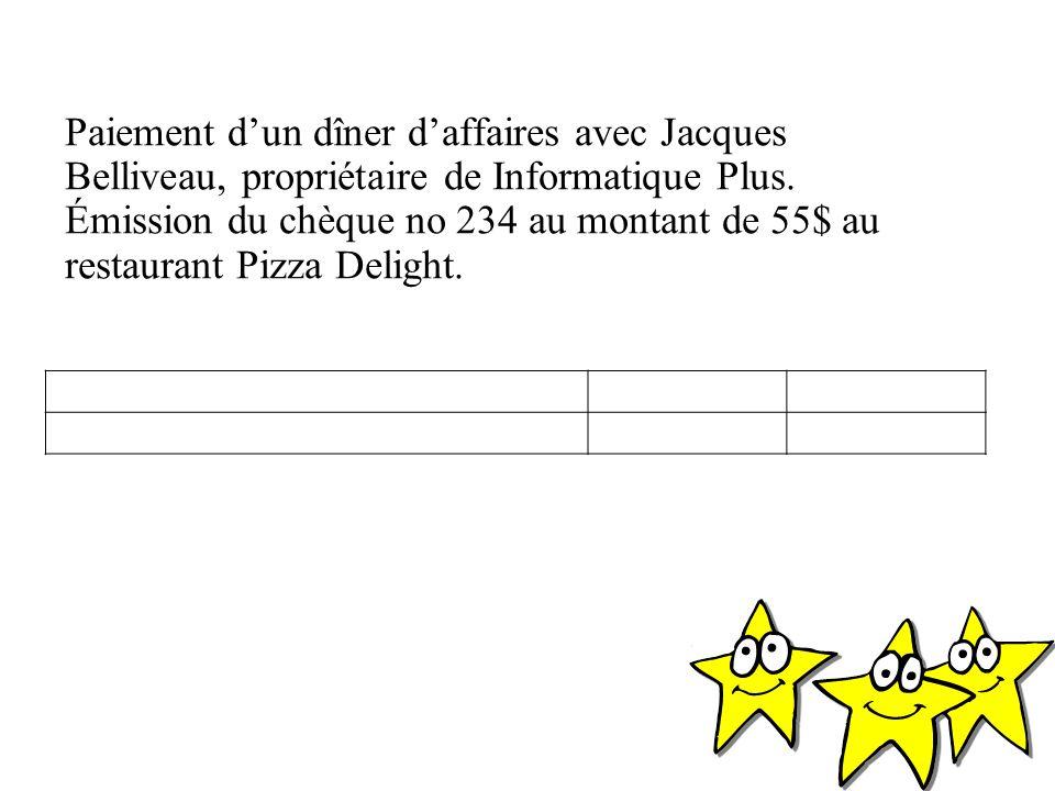 Paiement d'un dîner d'affaires avec Jacques Belliveau, propriétaire de Informatique Plus.