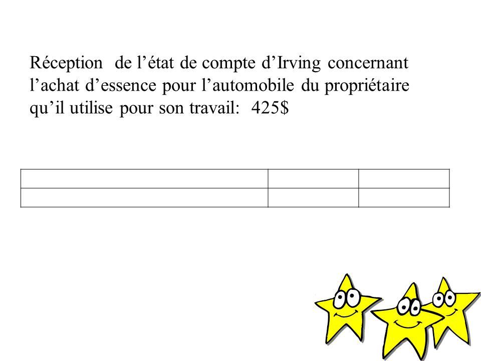 Réception de l'état de compte d'Irving concernant l'achat d'essence pour l'automobile du propriétaire qu'il utilise pour son travail: 425$