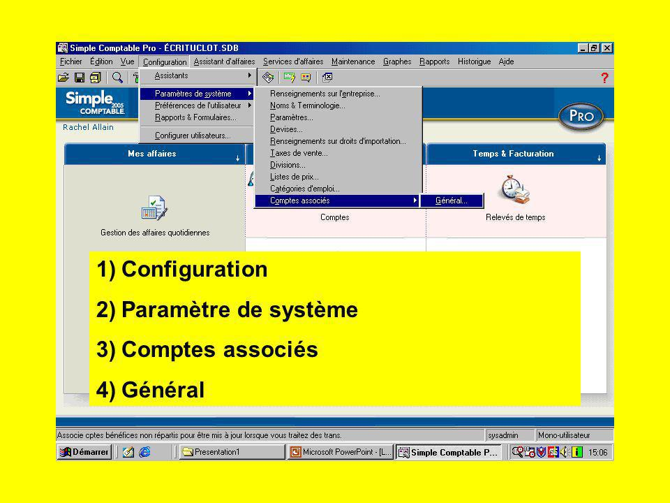 Configuration Paramètre de système Comptes associés Général