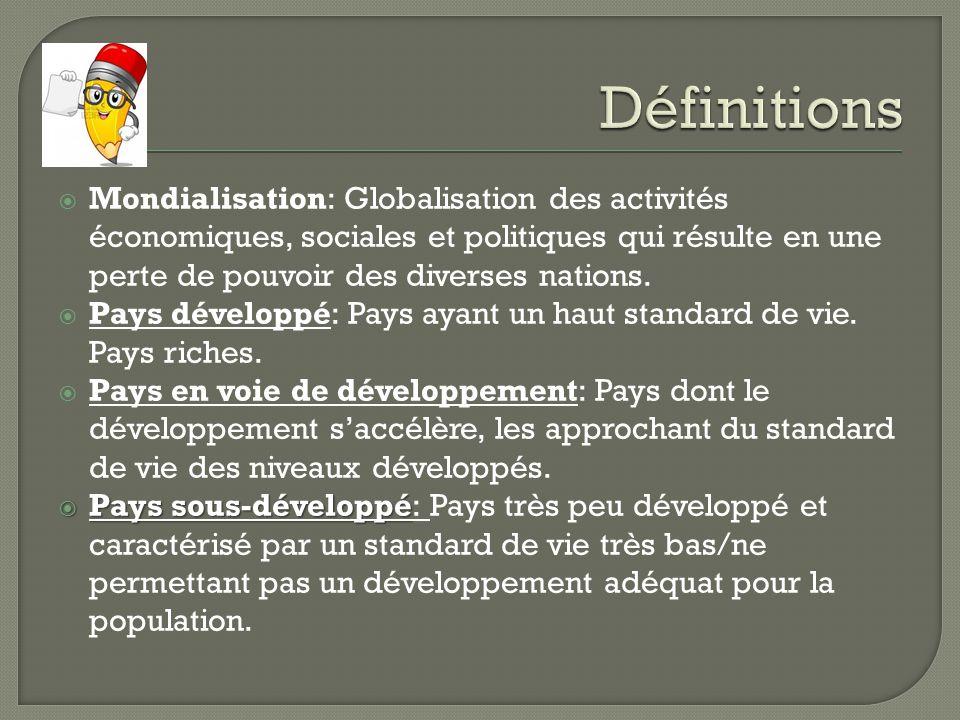 Définitions Mondialisation: Globalisation des activités économiques, sociales et politiques qui résulte en une perte de pouvoir des diverses nations.